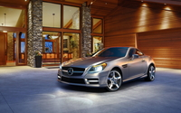Parked silver Mercedes-Benz SLK 200 front side view wallpaper 2560x1600 jpg