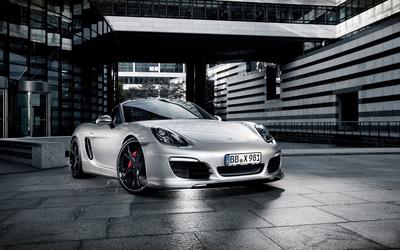Parked silver Porsche Boxster wallpaper