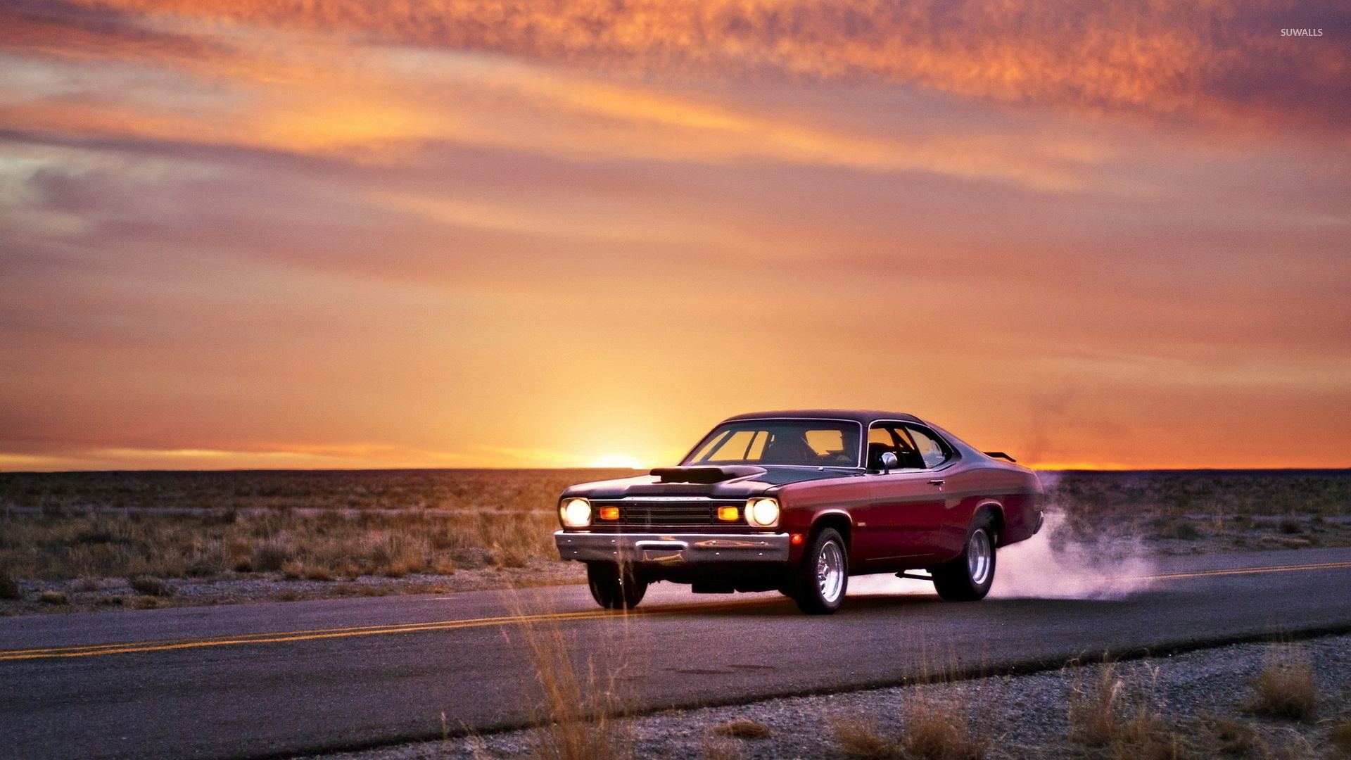 plymouth duster on the road at sunset wallpaper car wallpapers 52240. Black Bedroom Furniture Sets. Home Design Ideas