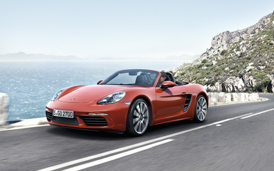 Porsche 718 Boxster on the road wallpaper