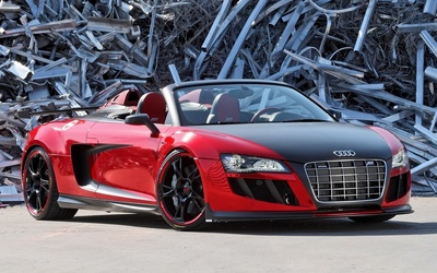 Red ABT Audi R8 GT Spyder front side view wallpaper