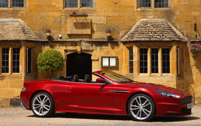 Red Aston Martin DBS V12 side view wallpaper