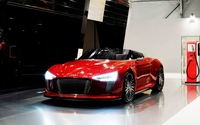 Red Audi e-tron convertible wallpaper 1920x1080 jpg