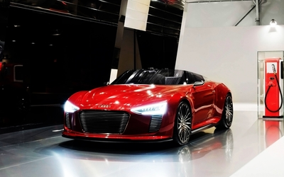 Red Audi e-tron convertible wallpaper