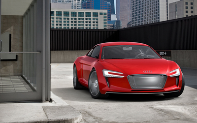 Red Audi e-tron front view wallpaper