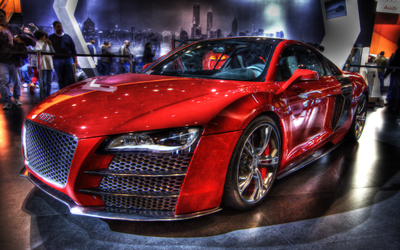 Red Audi R8 in a show room wallpaper