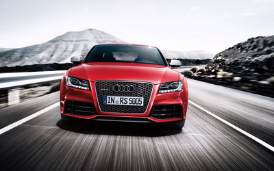 Red Audi RS5 on the road wallpaper