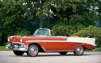 Red Chevrolet Bel Air cabriolet parked wallpaper 1920x1200 jpg
