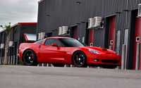 Red Chevrolet Corvette front side view wallpaper 1920x1200 jpg