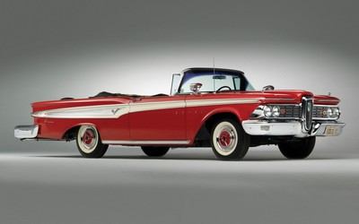 Red Edsel Corsair front side view wallpaper