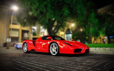 Red Enzo Ferrari front side view wallpaper