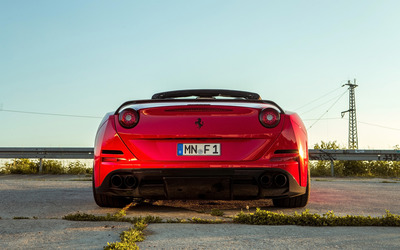 Red Ferrari California Back view wallpaper