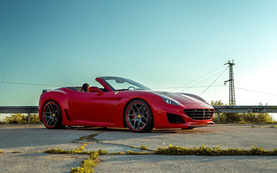 Red Ferrari California front side view wallpaper
