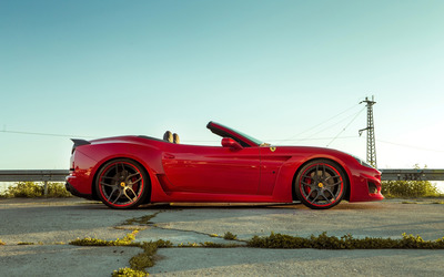 Red Ferrari California parked Wallpaper