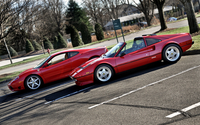Red Ferrari cars in a parking lot wallpaper 1920x1200 jpg