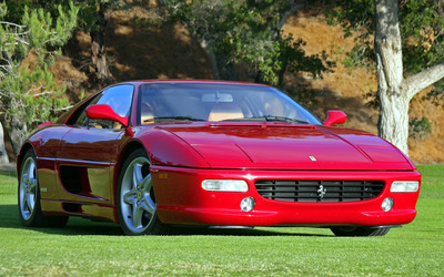 Red Ferrari F355 front view wallpaper