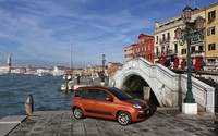 Red Fiat Panda in Venice wallpaper 2560x1600 jpg