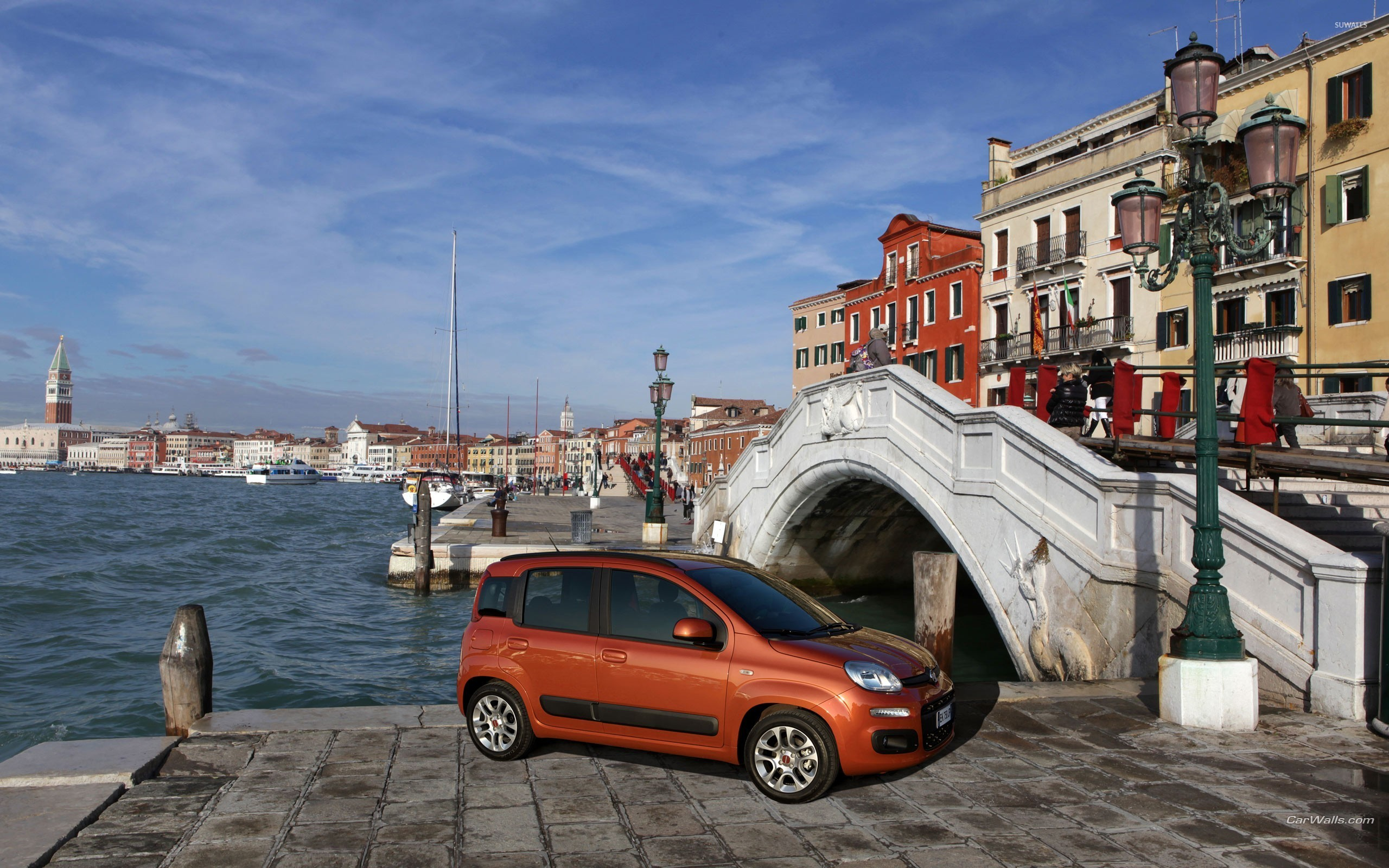 Red Fiat Panda in Venice wallpaper - Car wallpapers - #51283