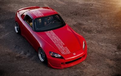 Red Honda S2000 front top view wallpaper