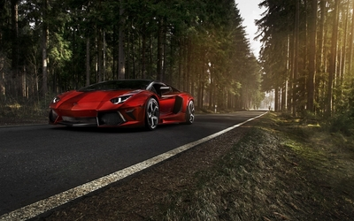 Red Lamborghini Aventador on a forest road Wallpaper