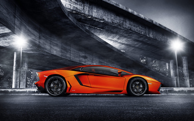 Red Lamborghini Aventador under a bridge wallpaper
