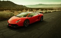 Red Lamborghini Gallardo on the road wallpaper 1920x1080 jpg