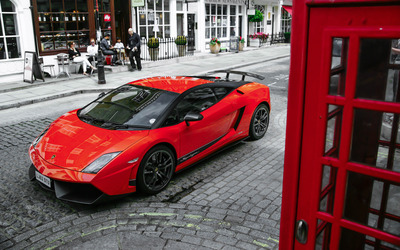 Red Lamborghini Gallardo Superleggera top view wallpaper