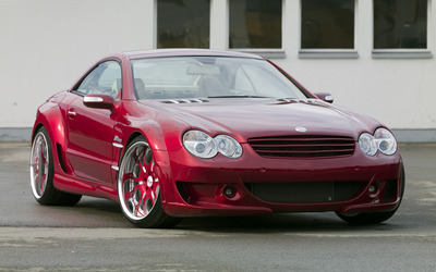 Red Mercedes-Benz SL500 parked wallpaper