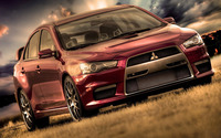 Red Mitsubishi Lancer Evolution wallpaper 1920x1200 jpg