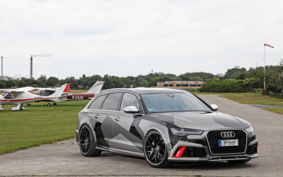Schmidt Audi RS 6 quattro near airplanes front side view wallpaper