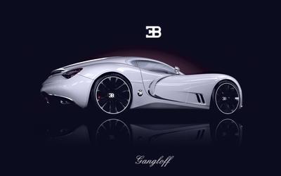 Side view of a white Bugatti Gangloff wallpaper