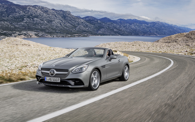 Silver 2016 Mercedes-Benz SLC 300 front side view wallpaper