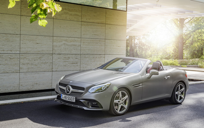 Silver 2016 Mercedes-Benz SLC 300 near the house wallpaper