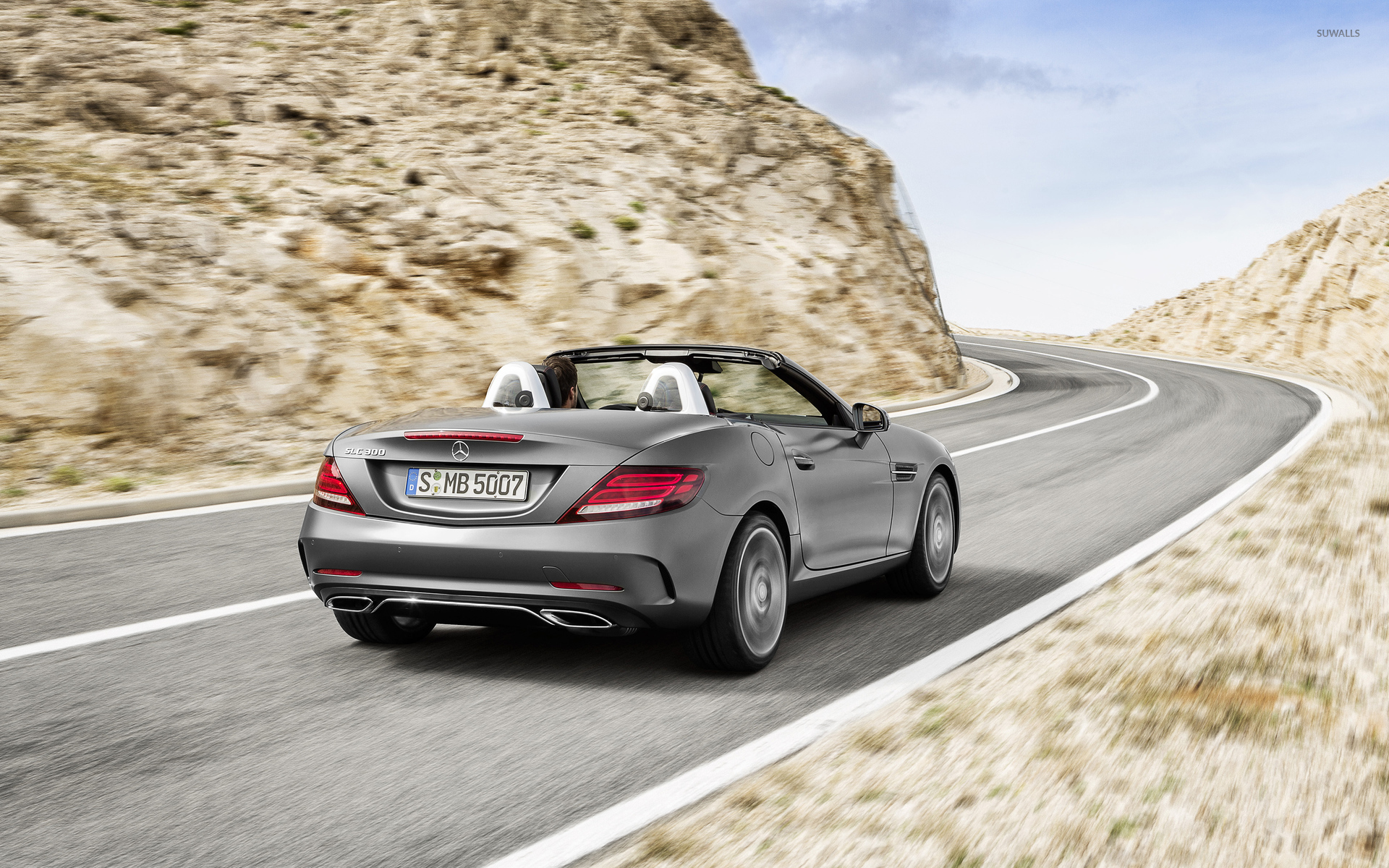 Silver 2016 mercedes benz slc 300 on the road wallpaper for Silver mercedes benz