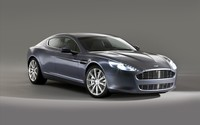 Silver Aston Martin Rapide with headlights on wallpaper 1920x1200 jpg