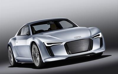 Silver Audi e-tron front side view wallpaper