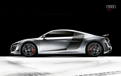 Silver Audi R8 side view Wallpaper