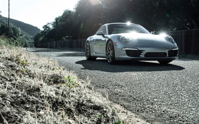 Silver Boden Porsche 911 Carrera S front view wallpaper