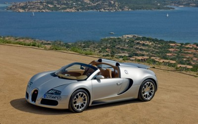 Silver Bugatti Veyron front side view wallpaper