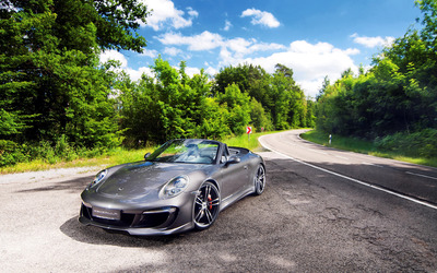 Silver Gemballa Porsche 911 Carrera S cabriolet front side view wallpaper