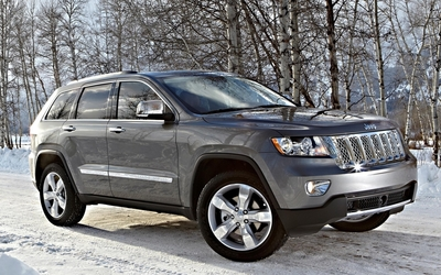Silver Jeep Grand Cherokee on a snowy road wallpaper