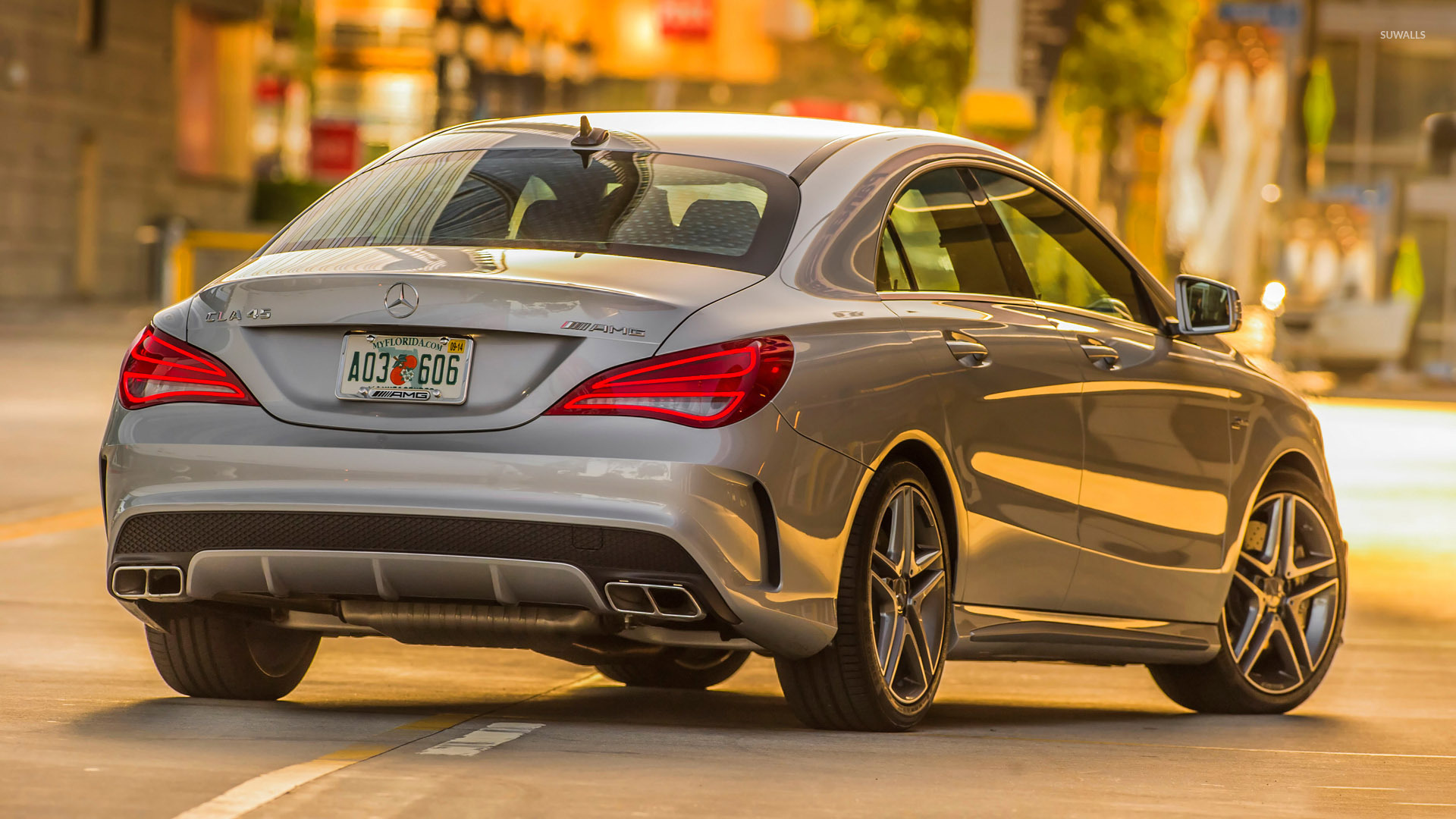 Silver Mercedes Benz Cla 45 Amg Back View Wallpaper Car