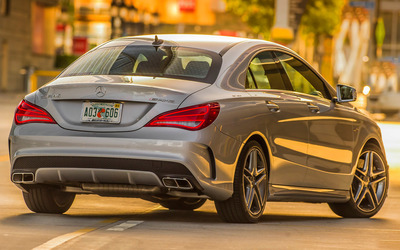 Silver Mercedes-Benz CLA-45 AMG back view wallpaper