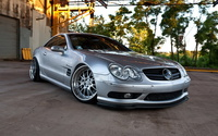 Silver Mercedes-Benz SL-Class parked wallpaper 1920x1200 jpg