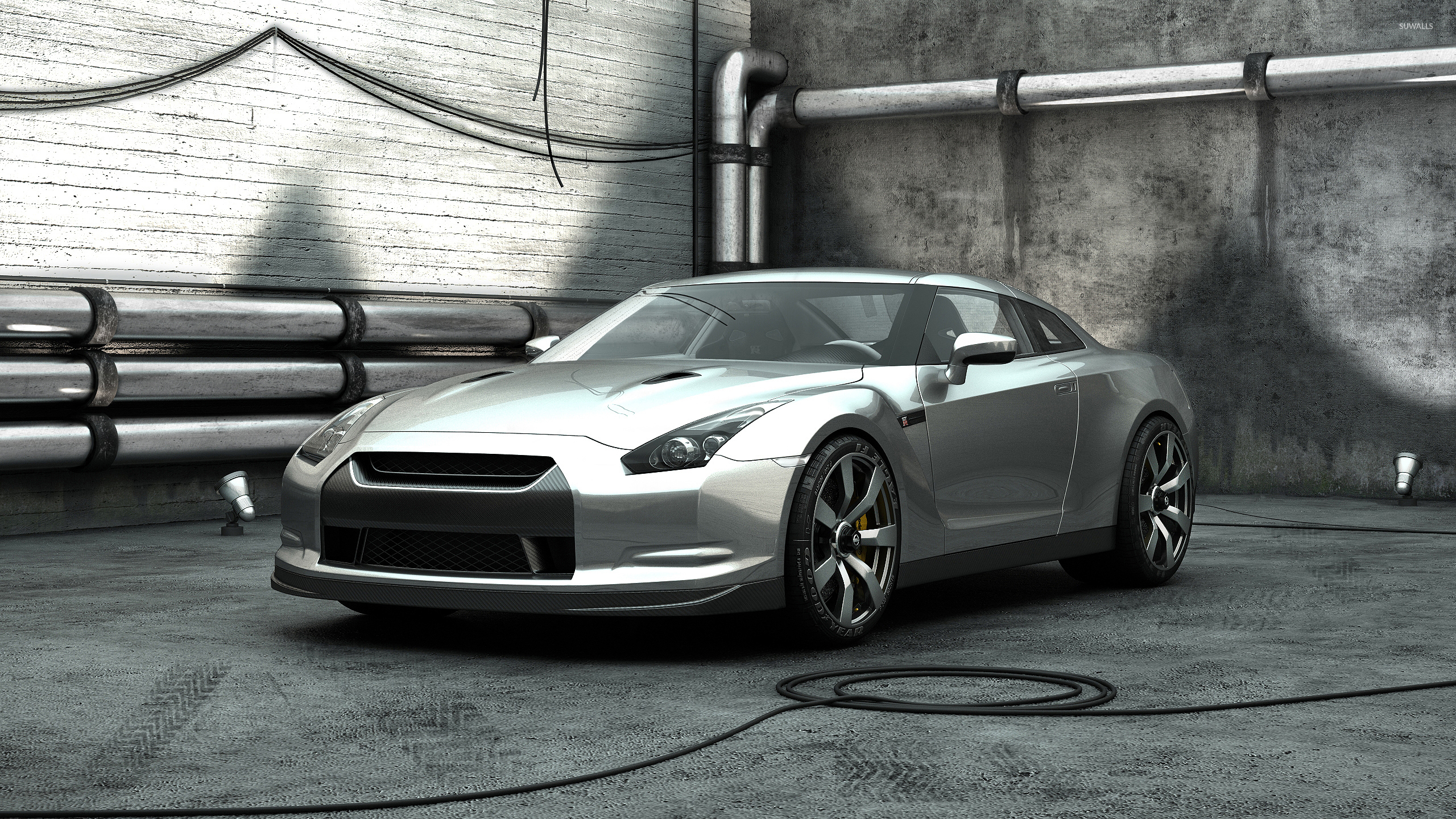 Elegant Silver Nissan GT R Front Side View Wallpaper