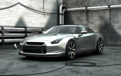 Silver Nissan GT-R front side view wallpaper