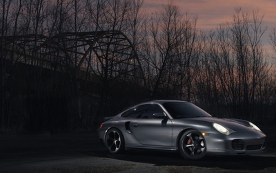 Silver Porsche 911 at sunset wallpaper