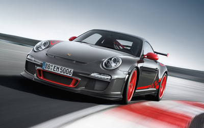 Silver Porsche 997 GT3 on the racing track wallpaper