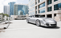 Silver Porsche 997 in the parking lot wallpaper 1920x1200 jpg