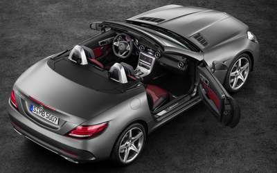 Top view of a 2016 Mercedes-Benz SLC 300 with open doors wallpaper